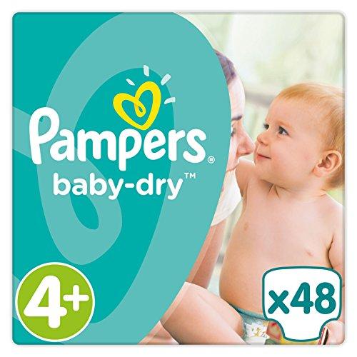 Pampers Baby Dry Windeln, Gr. 4+ (9-18 kg), bis zu 12 Stunden Trockenheit, 2er Pack (2 x 48 Stück)