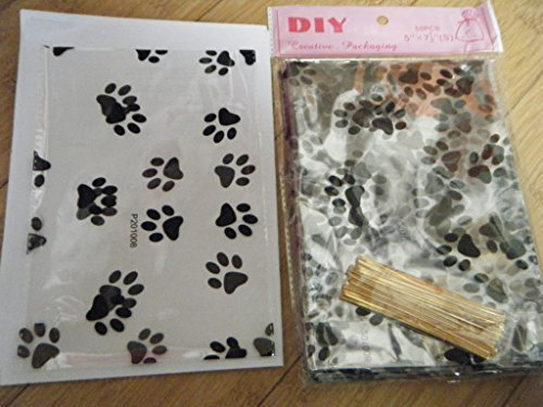 50x-quality-clear-cello-plastic-carrier-bags-black-with-cat-dog-animal-paws-print-with-twist-ties-fo