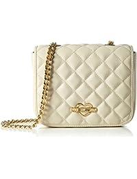 Love Moschino - Borsa Nappa Pu Trapuntata Avorio, Shoppers y bolsos de hombro Mujer, Weiß (Ivory), 14x20x6 cm (W x H D)