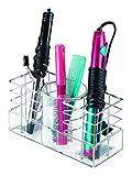 InterDesign Luci Porta spazzole per capelli e accessori per il bagno | Porta phon, piastra, pettini, ecc. | Porta oggetti bagno per mobiletti e armadietti | Plastica trasparente