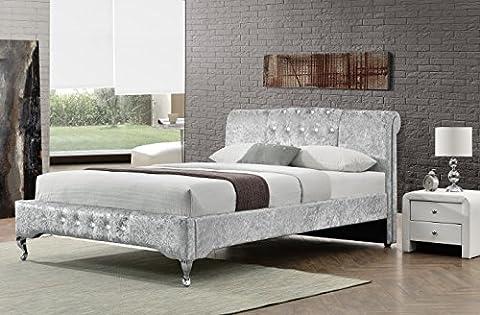 Cherry Tree Furniture CHARA Diamante Headboard Luxury Crushed Velvet Fabric Upholstered Bed Bedframe Bedstead (4FT6