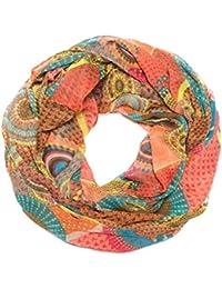Kandharis leichter dünner Loopschal Halstuch mit Muster-Mix Dots Sternen Bart Brille Retro Streifen Neon- & Pastellfarben