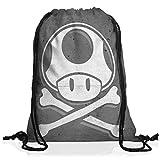 A.N.T. Toad Skull Rucksack Tasche Turnbeutel Sport Jute Beutel mario totenkopf videospiel konsole super world