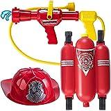 BAKAJI Set Gioco Pompiere con Idrante Pistola Acqua Serbatoio a Zaino e Cappello Vigili del Fuoco Regolabile per Bambini Curati in Ogni Dettaglio