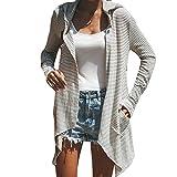 DEELIN Damen Streifen T-Shirt mit Kapuze ärmellosen Elegant Casual Tops Bluse (S, AGrau)