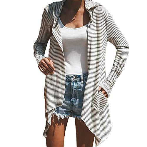 Zolimx Frauen mit Kapuze Herbst Winter Langarm Streifen Mode Mantel Tasche Langen Mantel