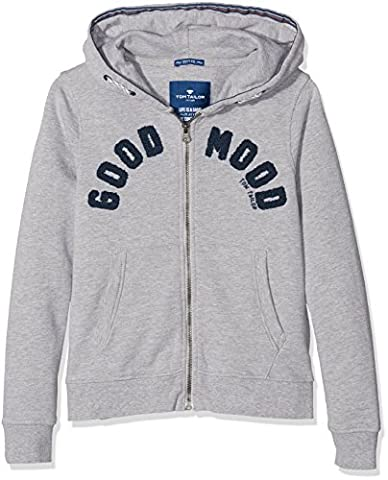 TOM TAILOR Kids Jungen Sweatshirt Good Mood Sweatjacket Grau (Medium Grey Melange 2482), 176
