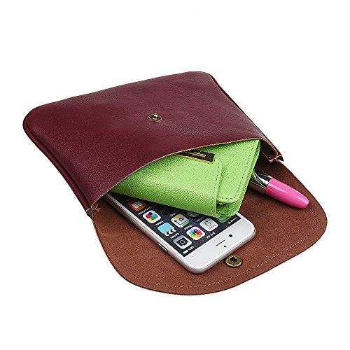 xhorizon TM MSH Pochette tour de cou multi-fonction en cuir Sac à Bandoulière avec écharpe réglable pour iPhone SE 5/5S/6/6S Plus Samsung S4/S5/S6/S6/S6 Edge/S7/S7 Edge Note2/3/4/5 LG G3 G4 G5 #8