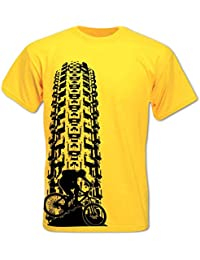 T-Shirt Homme Descente VTT Traces De Pneu