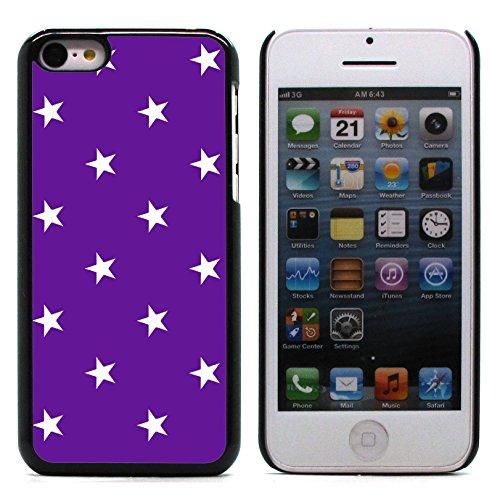 Graphic4You Sterne Muster Design Harte Hülle Case Tasche Schutzhülle für Apple iPhone 5C (Grau) Lila