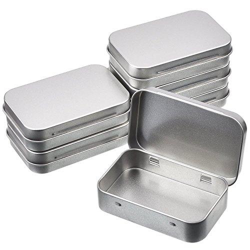 6Stück 3,45x 2.35, 0,7cm Dosen Behälter, rechteckig Hinged-Behälter-Set, silber, Metall, leere Mini Tragbarer Dose Box, Heim-Organizer