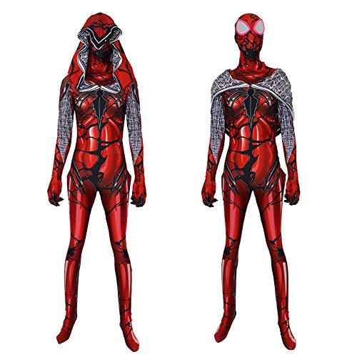 Kostüm Großen Ball Roten - POIUYT Lady Lycra Venom Roter Mantel Große Spider-Man Strumpfhose Cosplay Kostüm Ball Kostüm Avengers Iron Spider 3D (S-XXL),Red-S