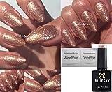 BLUESKY QCG15 Gel-Nagellack, Farbe: Rose, Gold, Glitzer, inkl. 2LuvliNail-Glanztücher