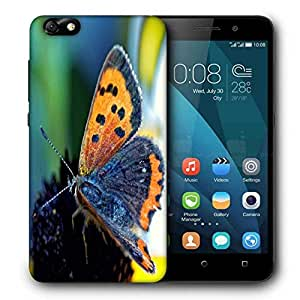 Snoogg Butterfly In Black Flower Printed Protective Phone Back Case Cover For Huawei Honor 4X