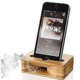 FeBite Supporto per bambù in legno per cellulare Supporto per bambù in legno per amplificatore per scrivania Docking Station per iPhone Samsung HUAWEI Motorola Smart Phone per Android