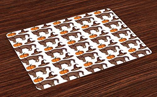 ABAKUHAUS Halloween Platzmatten, Saisonweinlese-Muster mit Kürbis-Kürbis-Hexen-Hüten und Katzen-Zahlen, Tiscjdeco aus Farbfesten Stoff für das Esszimmer und Küch, Orange Braun Grün (Hüten Mit Halloween-katzen)