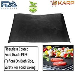 "KARPâ""¢ Silicone Non-stick BBQ Grill & Baking Mats - 0.1mm FDA-Approved, Teflon Coated Reusable and Easy to Clean - Works on Gas, Charcoal, Electric Grill and More"
