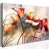 murando - handbemalte Bilder auf Leinwand Blumen 100x70 cm - 1 Teilig - Leinwandbilder - Wandbilder XXL - Kunst - Wandbild – Mohnblumen rot 0107-13