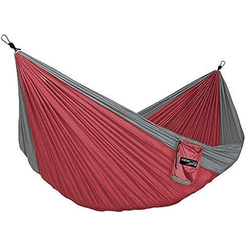 Native Spring Hamaca portátil individual de nailon ultraligera para camping viaje paracaídas - rojo y carbón