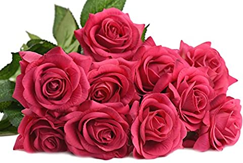 FiveSeasonStuff® 10 Stems of Real Touch Silk 'Petals Feel and Look like Fresh Roses' Artificial Flower Bouquet Floral Arrangement, Perfect for Wedding, Bridal, Party, Home, Office Décor DIY (Hot Pink #4) - Partito accessori