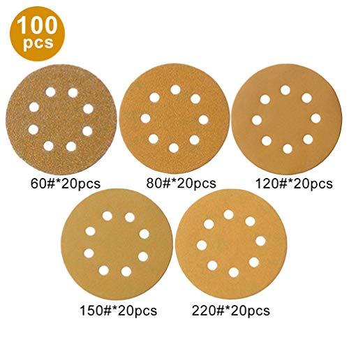 leifpapier, 5 Zoll Premium Schleifmittel Orbital Schleifpapier Umfassen 60/80/120/150/220 Grits, 8 Loch für Auto Rad Schleifen, ()