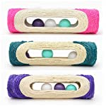 OWIKAR Cat Scratcher Sisal Rope Woven Scratching Barrel Toys with Ball Trapped Ball Training Cat Catch Sisal Post Hollow Column, Pink Purple Green Random Color,1 pack 11
