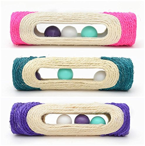 OWIKAR Cat Scratcher Sisal Rope Woven Scratching Barrel Toys with Ball Trapped Ball Training Cat Catch Sisal Post Hollow Column, Pink Purple Green Random Color,1 pack 4