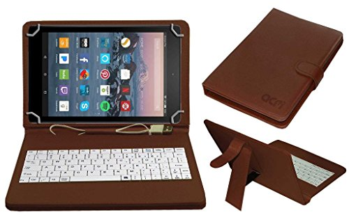 ACM USB Keyboard Case for Amazon Fire 7-inch Tablet Cover Stand with Micro USB OTG (Brown)