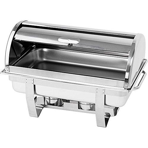 Roll-Top Chafing Dish Wasserbad Speisenwärmer CLASSIC 600 x 360 x 380 mm GN 1/1 9 Liter Edelstahl mit Tragegriff Brennpastenbehälter 9 Liter Chafing Dish