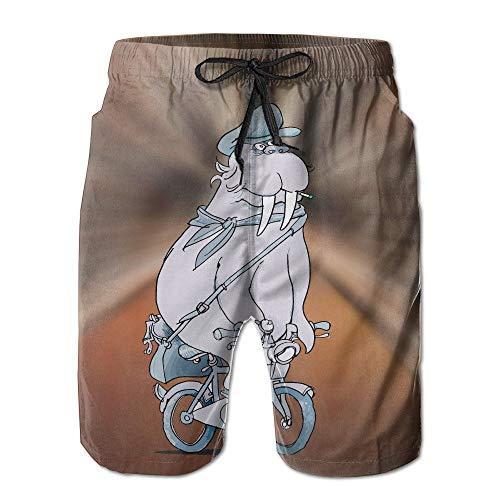 Seal Riding A Bike Bedruckte Herren-Badehose mit Strand-Shorts, Größe XXL