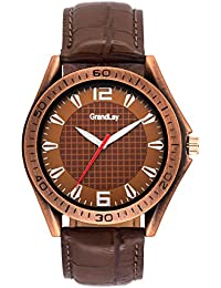 Grandlay mg-3084 brown dial with brown strap authentic watch for menz