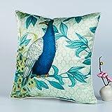 DW HCKK Silk Kissen Chinesische Vogel und Blume-Kissen Mahagoni Sofakissen Bett Kissen Büro-Kissen-B 45x45cm(18x18inch) VersionB