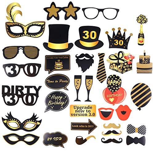 en Fotoaccessoires 30. Geburtstag Brille Hut Kuchen Herren Geburtstag Party Fotobooth Zubehör Dekoration 34 Stück ()