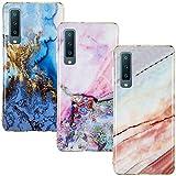 CLM-Tech Hülle 3X kompatibel mit Samsung Galaxy A7 (2018), TPU Silikon-Hülle Case Schutzhülle Handyhülle 3er Set, Marmor blau Mehrfarbig