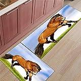 WGOO Carpet Tappeti Cucina Lavabile Antiscivolo Design Tappeto da Cucina Set,Bellissimo Tappeto da Bagno da 2PCS con Cavalli da Corsa in Cavalli di Spessore 5MM,60X90+60X180CM