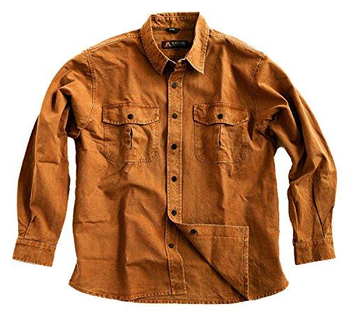 Robustes Outdoor Herrenhemd Overshirt in braun, blau und Mustard, Langarm- Shirt