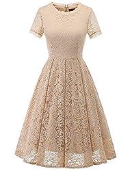 DRESSTELLS Damen Midi Elegant Hochzeit Spitzenkleid Kurzarm Rockabilly Kleid Cocktail Abendkleider Champagne M
