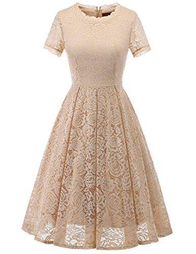 DRESSTELLS Damen Midi Elegant Hochzeit Spitzenkleid Kurzarm Rockabilly Kleid Cocktail Abendkleider Champagne 3XL