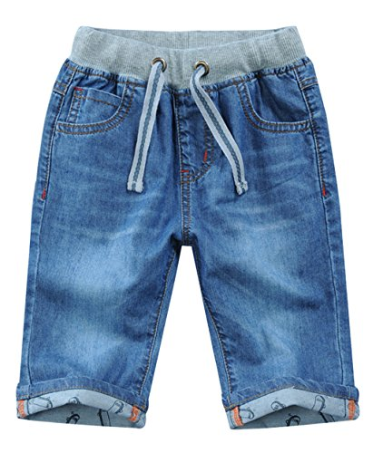 SellerFun Child Boy Drawstring Mid Waist Elastic Straight Stretch Summer Cropped Shorts Denim Jeans