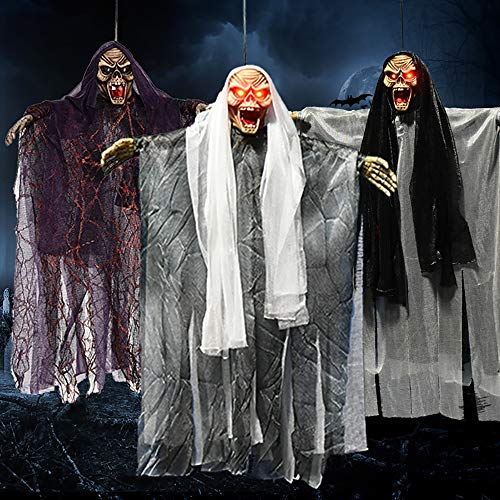 Festliche Maske, die Maske spielt Hängende Geisterrequisiten, Halloween Skelett Partydekoration, Elektrische Sprachsteuerung zum Aufleuchten der Augen Tricky Toy Haunted House-Requisiten Halloween ver