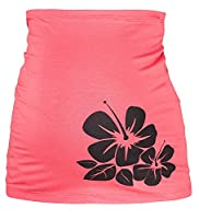 Happy Mama. Women's Maternity Belly Band Hibiscus Flower Print. 036p (Coral, UK 8/10)