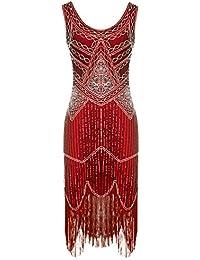 FAIRY COUPLE Robe de 1920s Pailleté Perlée Frange Gatsby Flapper Robe D20S001