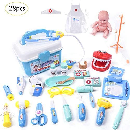Lacyie 28-teiliges Medizinisches Spielzeug-Set für Kinder, Medizinische Tasche, Rollenspiel Sets für Kinder frühe Erziehung blau (Taschenlampe Value Pack)