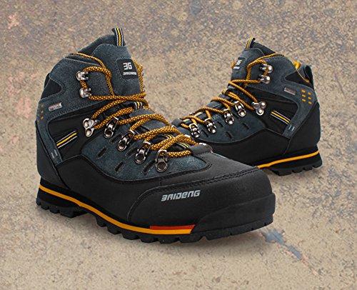 Bottes de randonnée pour homme Haut Haut Trekking Chaussures dextérieur Non Slip Respirant En marchant Escalade Chaussure Par Gomnear Noir jaune