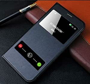 new product 85923 efe28 SmartLike Window Leather Premium Flip Cover for Samsung J5 Prime SM-G570F  (Black)