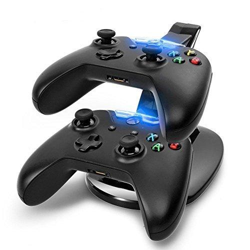 Heliomax USB twin docking station dock ladestation ladegerät blaues licht 2 Controller für Xbox One - Wii Ladegerät Station Docking
