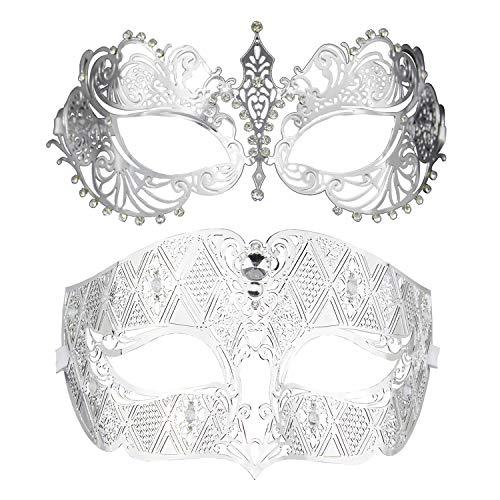 Thmyo Ein Paar Paar Maskerade Maske, Krone Maske venezianischen Kostüme Mardi Gras Prom Maske (Silber + Silber)