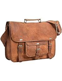 """Cartable en cuir - Gusti Cuir nature """"Tom"""" sac à bandoulière vintage sac notebook rétro sacoche business homme femme cuir de chèvre marron U27n-1 S"""