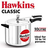 Hawkins Classic CL10 10 L Aluminum Pressure Cooker, Medium, Silver
