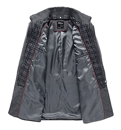 Wantdo Herren Wollmischung Mantel Trenchcoat Jacke Grau